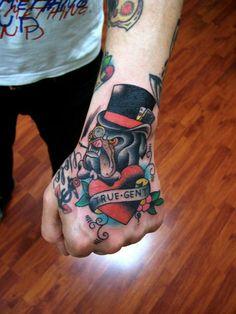 hand tattoos, neotradit tattoo, bulldogs