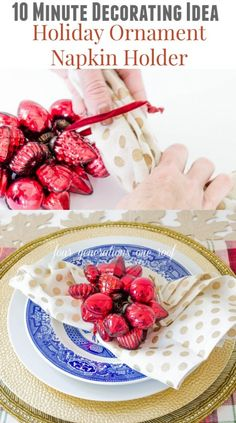 Quick Ornament place setting {red + gold + blue}.  Set your Christmas table in style with Four Generations One Roof