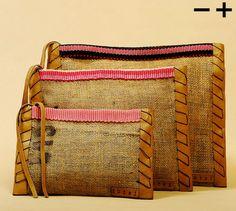Handmade burlap pouches.