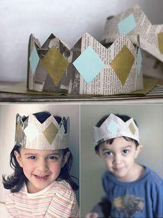 DIY Newspaper Crowns // via salsa pie