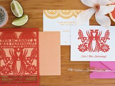 Cinco de Mayo wedding invitations, photo by Chelsea Scanlan http://ruffledblog.com/cinco-de-mayo-wedding-ideas #lasercut #weddinginvitations #stationery
