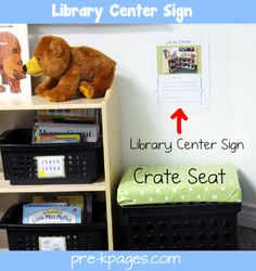 Classroom library center sign and crate seat via www.pre-kpages.com librari center, classroom library seating, classroom libraries, crate seat