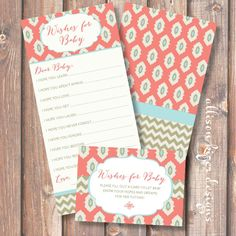 Coral and Gold Ikat Chevron Printable Wishes for Baby Game. $10.00, via Etsy.