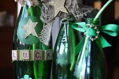 great ideas for transforming green glass bottles into charming and festive shamrock themed decorations