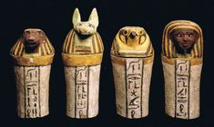 canopic jars: Here I present the 4 Canopic Jars found in the tombs of the Pharaohs.  They held the organs. (the heart was left in the body)