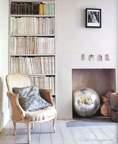 disco ball in fireplace
