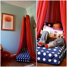 Repurpose an old crib mattress into a reading nook