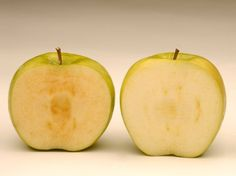The GMO Apple That Won't Brown by Dan Charles, npr: Soon after being sliced, a conventional Granny Smith apple (left) starts to brown, while a newly developed GM Granny Smith stays fresher loo... #Apples #Brown #GMO