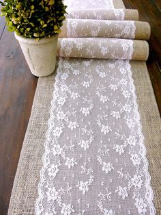 Wedding table runner, pink lace rustic chic wedding tablecloth, burlap and lace table runner, handmade in the USA