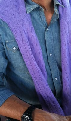 Relaxing in Ojai, California. RRL denim and cable cashmere.
