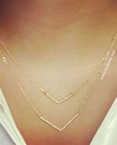 Gold Jeweled V Double Strand Necklace $14.99