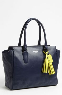 COACH 'Legacy Perforated Candace - Medium' Leather Carryall  Navy and citrine