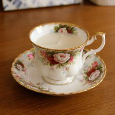 Vintage Teacup Candle #DIY HAVE to make these!!!!!!!!!!!!!!