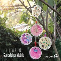 Glitter Lid Suncatcher Mobile | The Craft Train