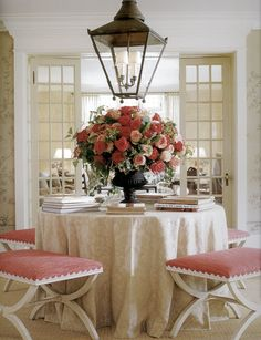 lantern, entry tables, hall tables, foyer, entrance ways, chinoiserie chic, round tables, center table, table skirts