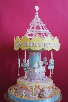 Hello Kitty Carousel Cake (It rotates with music!) hello kitti, carosel cake, cakes, kitti carousel, carousel cake, decor cake, carousels, cake hello, hello kitty