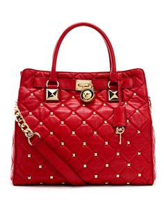 studs, shoulder bags, michael kors outlet, purs, closets, kor bag, black, red michael kors handbags, christmas gifts