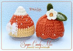 Newborn Twin Set - Candy Corn Hat - Pumpkin Hat - Fall Autumn Hat- Halloween Hat- Photography Prop - Baby Girl. $53.00, via Etsy.