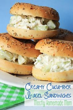 Creamy Cucumber Bagel Sandwiches - cucumbers, cream cheese, green onion, Worcestershire sauce, everything bagels - SO GOOD! www.mostlyhomemademom.com