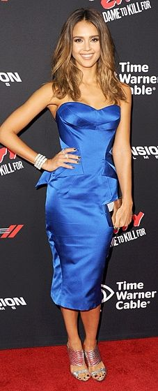 """Jessica Alba got the blues in a strapless fitted Zac Posen dress and strappy heels at the """"Sin City: A Dame To Kill For"""" L.A. Premiere."""