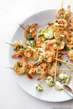 Grilled Shrimp Skewers with Herb Butter