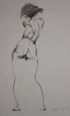 Jason Juan, nude female posterior sketch, 2009. Seattle and San Francisco.