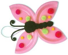 Butterfly preschool craft.  2 Colorful paper plates or paint/color a plain white ones.   Cut into wing shape and embellish with Pom pomander and a pipe cleaner for the antennas. Too cute!!!