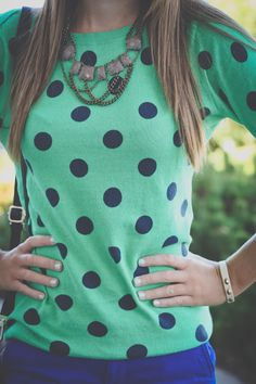 Mint & navy, w/o the necklace
