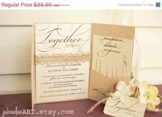 Together we will be Modern Rustic Ombre color calligraphy by JubeeleeArt #wedding invitations