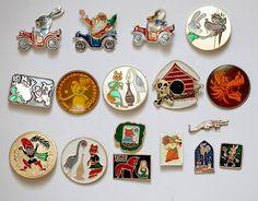 Set of 17 Soviet Vintage Badges / Pins - Kids Children Cartoon Characters - from Russia / USSR / Soviet Union. $25.00, via Etsy.