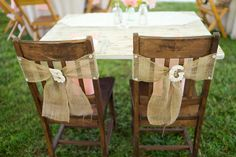 Burlap wedding chair decor {Photo by Sharon Elizabeth Photography and Freshly Wed via Project Wedding}