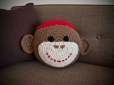 Crochet Sock Monkey Pillow