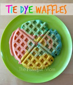 Frugal Family Fun - Make your kids these Tie Dye Waffles for breakfast!  - The Peaceful Mom