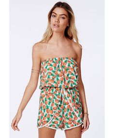 Anmar Pineapple Pom Pom Trim Playsuit - Playsuits - Missguided