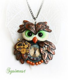 Steampunk owl.  Clay bird. Clay owl.  Polymer clay. Steampunk necklace by Sysimust