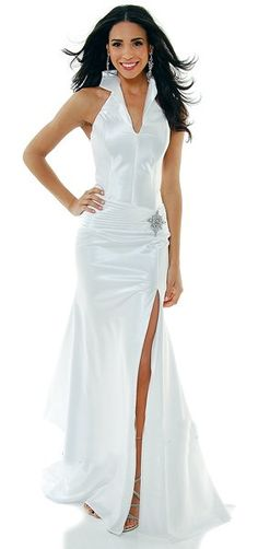 Ivory Collar Halter Dress Satin Formal Open Slit Sexy Full Length Gown