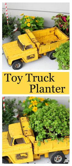 Using a toy truck, found at a yard sale, as a planter.