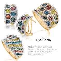 A mix of candy color diamonds will sweeten up fine jewelry and provide the perfect complement to the season's cool monchromatic white fashions. The deliciously new MixBerry™ collection from Le Vian® Exotics brings together Cranberry Diamonds, Blueberry Diamonds, Greenberry Diamonds and Goldenberry Diamonds with rich Honey Gold™ for a deliciously decadent look.