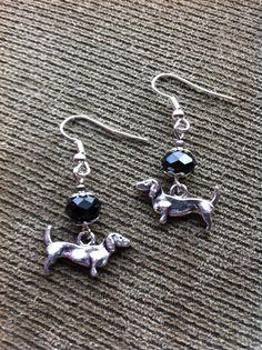 Doxie Dangle Earrings With Black Crystal or by StuffBySkeetsMom, $6.00