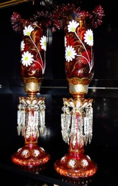Gorgeous Pair Hand Painted Cranberry Bohemian Moser Lusters Hurricane Shades