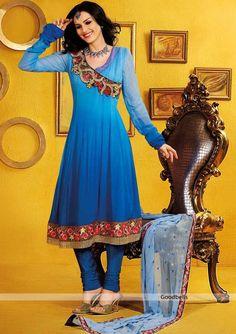 Shaded Blue Anarkali Suit | Kalidar pattern shaded salwar kameez   | Heavy embroidered designer neck pattern |   Floral embroidered patch at hem | $110.00 | http://goodbells.com/salwar-suits/shaded-blue-anarkali-suit.html