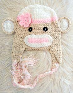 Crochet pink sock monkey animal beanie hat with by Skylightz, $15.00
