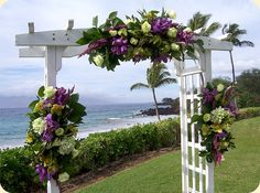 Purple and Green Floral Wedding Arch