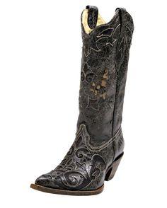 Corral Women's Distressed Black Lizard Inlay Boot - C2108