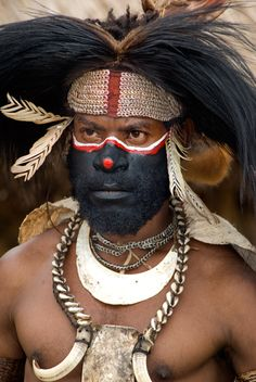 Dancer with Cassowary Feather Headdress at Tumbuna SingSing, Papua New Guinea