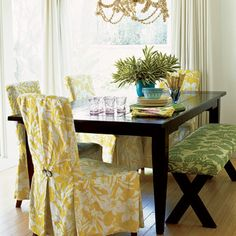 Beautiful dining chair covers ... Love this we have 4 chairs and a bench.