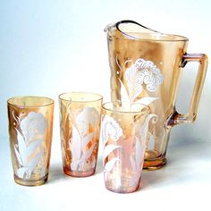 Vintage Jeannette Pitcher and Drinking Glass by blurredvisionary, $30.00