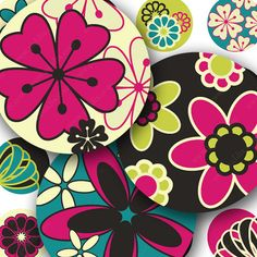 Bright Mod Flower #printables, a modern version of those 1960s and 1970s bold, bright flower prints. 1-inch circles for bottlecaps and more. Piddix 893.