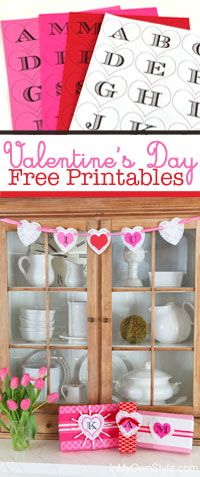 Valentine's Day Crafts - Free Printable Initial Hearts - In My Own Style