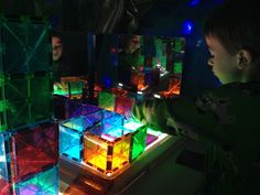 making a maze with magna tiles on the light table